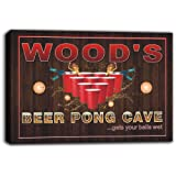scqr1-1078 WOOD'S Beer Pong Cave Bar Game Stretched Canvas Print Sign