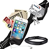 run good gear - UShake Running Belt, Ultra Light Bounce Free Waist Pouch Fitness Workout Belt Sport Waist Pack Exercise Waist Bag for Apple iPhone 7 SE 6 6+ 5s Samsung in Running Gym Marathon Cycling Sports (black)
