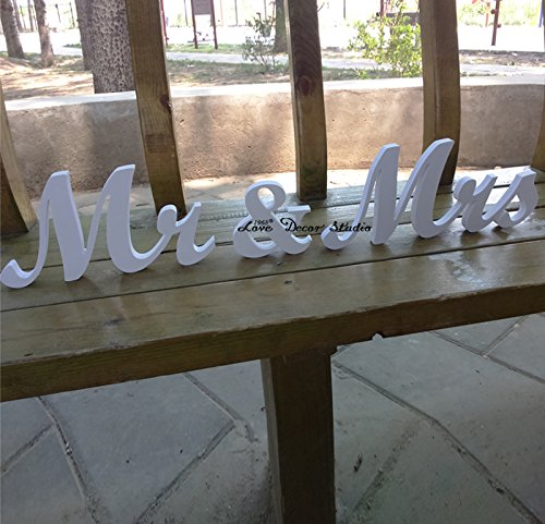 Mr and Mrs Wedding Signs for Sweetheart Table Decor pure white mr (Hearts Table Sign)