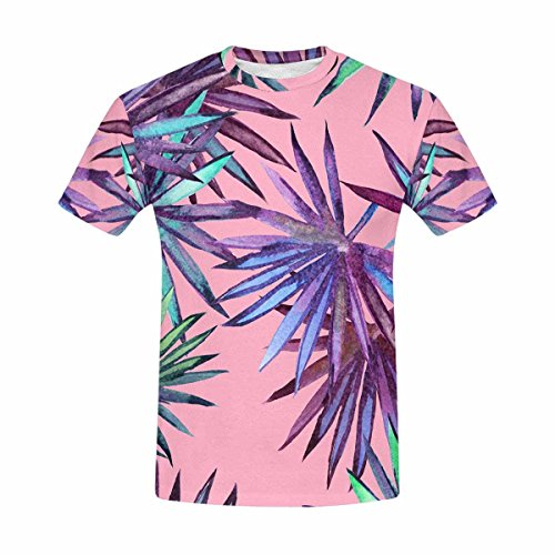 InterestPrint Custom Hand Drawing Tropical Leaves Men's Mesh T-Shirt (Drawing Hands T-shirt)