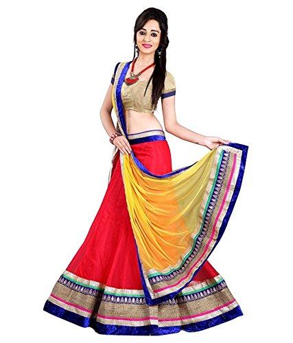 Radheshyam Enterprise Women's Net Lehenga Choli, Free Size, Red (Lehenga Choli)