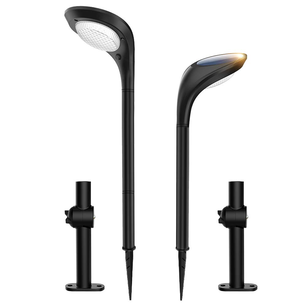 JSOT Solar Landscape Path Lights LED Garden Spotlight Outdoor In-Ground Lights with 2 Lighting Modes [Cool White & Warm White] Waterproof Solar Powered Light for Pathway Yard Patio Lawn,2 Pack