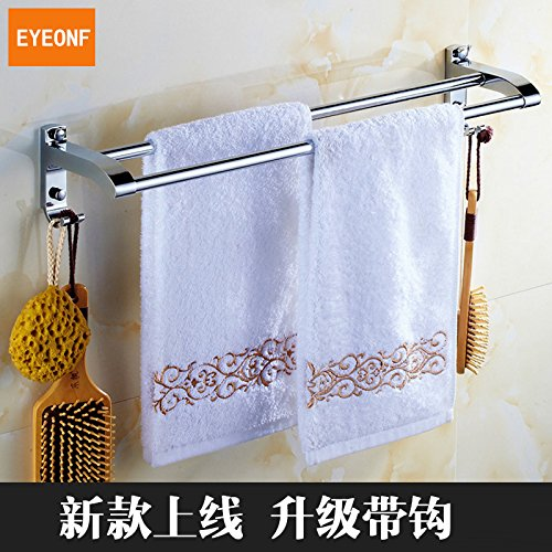 MBYW Modern Minimalist high Load-Bearing Towel Rack Fashion Bathroom Towel Rail Bathroom Stainless Steel Double Pole Shower Room Toilet Towel Hanging Rod Bathroom Shelf Multi-Purpose Hook Thickening ()