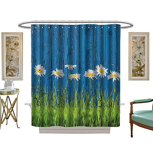 Auraise Heybee Shower Curtains Fabric eFresh Spring Grass and Daisy Fence SummerVintage Style Bathroom Decor Set with Hooks