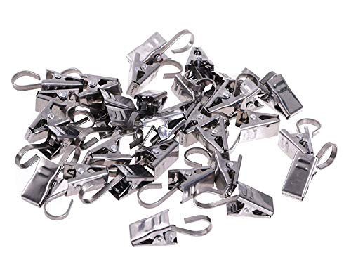 Shapenty Stainless Steel Hanging Curtain Clips with Hook for Photos, Art Craft Display, Home Decoration and Outdoor Party Wire Clamp Holder, 50PCS ()