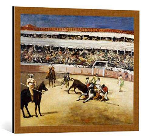 kunst für alle Framed Art Print: Edouard Manet A Bullfight - Decorative Fine Art Poster, Picture with Frame, 29.5x23.6 inch / 75x60 cm, Copper Brushed ()
