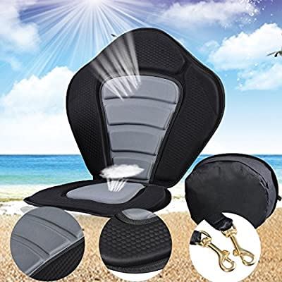 Kayak Padded Seat with Backrest, Adjustable Strap Fishing Kayaking Canoeing Padded Seat with Detachable Storage Bag