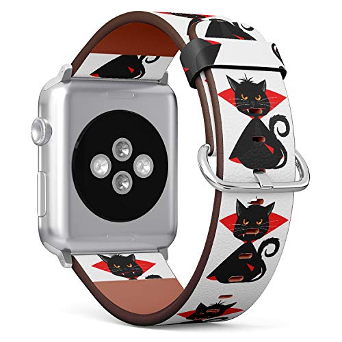 (Halloween Vampire Black Cat) Patterned Leather Wristband Strap for Apple Watch Series 4/3/2/1 gen,Replacement for iWatch 42mm / 44mm -
