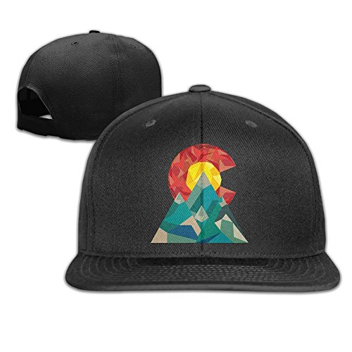Aiguan Colorado Geo Flat Visor Baseball Cap, Fashion Snapback Hat Black ()