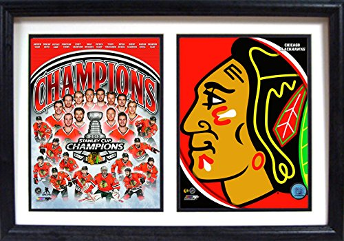 (NHL Chicago Blackhawks 123-81 2015 World Champions Double Photo Logo Plaque, Black)