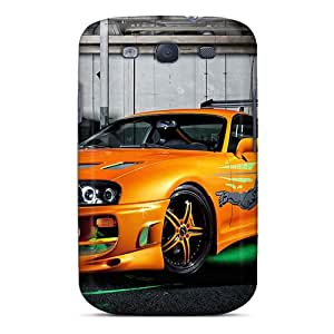TeXwn40726XiTqM CherryCore Awesome Case Cover Compatible With Galaxy S3 - Orange Neon Toyota Supra