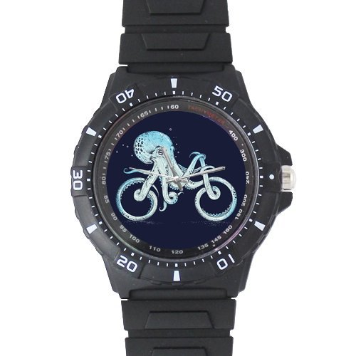 Gifts For Fathers/Husbands Cute Octopus Riding Bicycle Black Plastic High Quality Watch by Octopus Watch