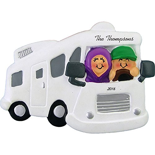 Calliope Designs Motor Home/RV with Couple Personalized Christmas Ornament -Retirement Travel- 2.5