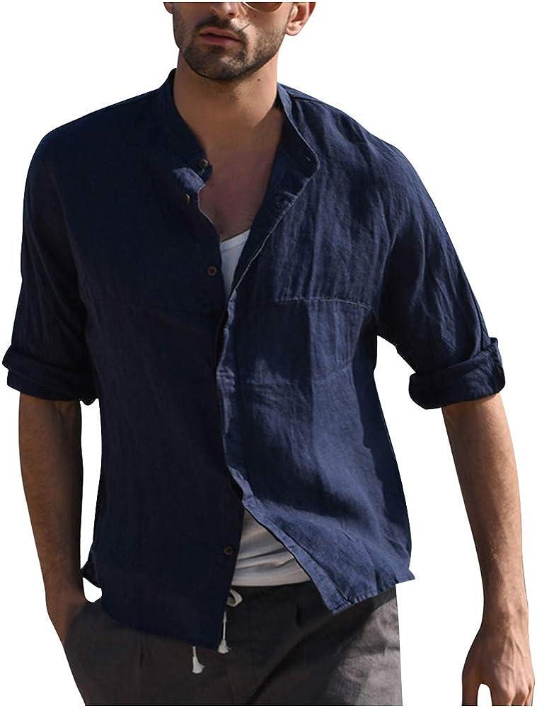 SoonerQuicker Camisa T Shirt tee 2019 Hombres Tres Cuartos Vintage Lino Sólido Manga Corta Camisetas Vintage Tops Blusa(Azul Oscuro S): Amazon.es: Ropa y accesorios