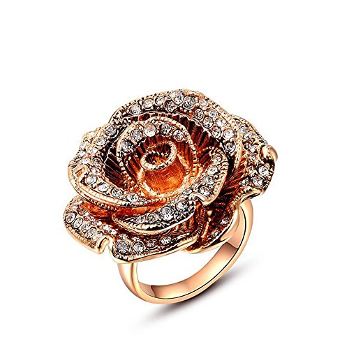 Winter.Z Noble and Elegant Ladies Jewelry Popular Explosion Models Rose (Gold Tip Flower Ring)