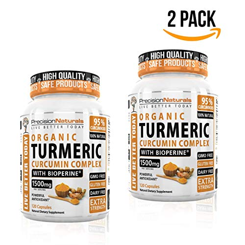 2 Pack Turmeric Capsules Bioperine Black Pepper Extract Maximum Absorption 1000mg serving Advanced Pain Relief and Joint Support 95 Standardized Curcuminoids Made with Organic Turmeric