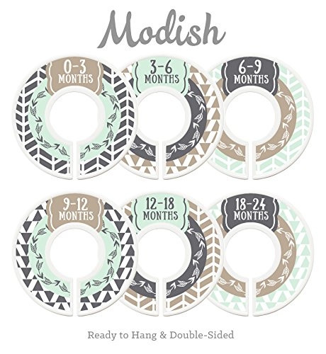 Modish Labels Baby Nursery Closet Dividers, Closet Organizers, Nursery Decor, Baby Boy, Woodland, Arrow, Tribal, Mint, Tan, Taupe, (Labels Mint)