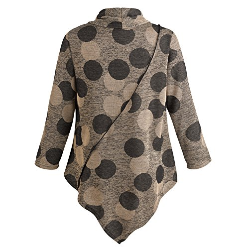 Women's Tunic Top - Neutral Dots Cowl Neck Pullover Shirt - 2X