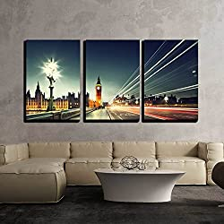wall26 - 3 Piece Canvas Wall Art - Big Ben from Westminster Bridge, London - Modern Home Decor Stretched and Framed Ready to Hang - 16x24x3 Panels
