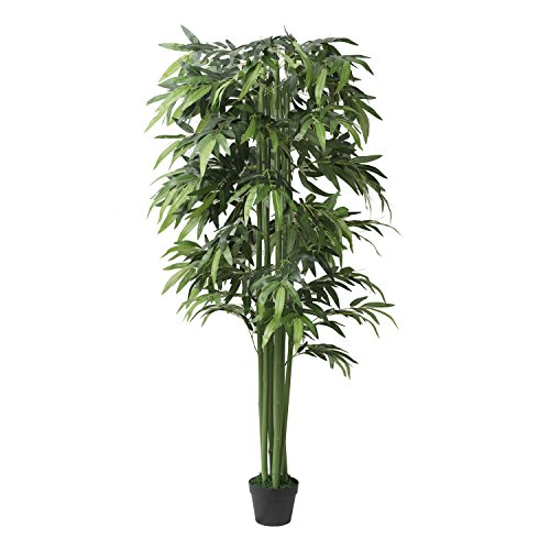 5.9Ft Potted Artificial Bamboo Tree Plant - Handmade Greenery Leaf Floor Plants for Indoor and Outdoor Decoration for Home Office and Hotels -Green Fake Plant Arrangement in Pot 1 Piece by Geling
