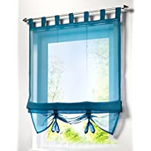 1pcs Liftable Roman Shades Tap Top Rod Pocket LivebyCare Sheer Balcony Window Curtain Voile Valance Drape Drapery Panels for Play Room Decor Decorative