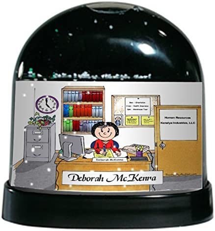 Counselor Accounts Personalized Friendly Folks Cartoon Caricature Snow Globe Gift Office Bookkeeper Manager Female Great For Administrative Assistant Principal Business Owner Clerk Home Kitchen Home Décor Accents