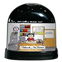 Personalized Friendly Folks Cartoon Caricature Snow Globe Gift: Office - Female Great for administrative assistant, bookkeeper, accounts, clerk, business owner, manager, principal, counselor