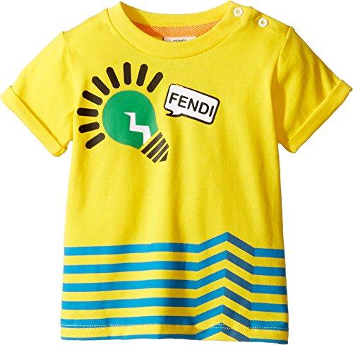 Fendi Kids Baby Boy's Short Sleeve Logo Light Bulb Graphic T-Shirt (Infant) Yellow - Kids Clothes Fendi