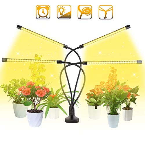 BINKBANG Grow Light Plant LED Growing Lamps for Indoor Full Spectrum with 3/9/12H Timer 10 Dimmable Levels 80 LEDs Adjustable Growth Lights for Garden Hydroponics Succulent Flower [4 Arms-Upgraded ]