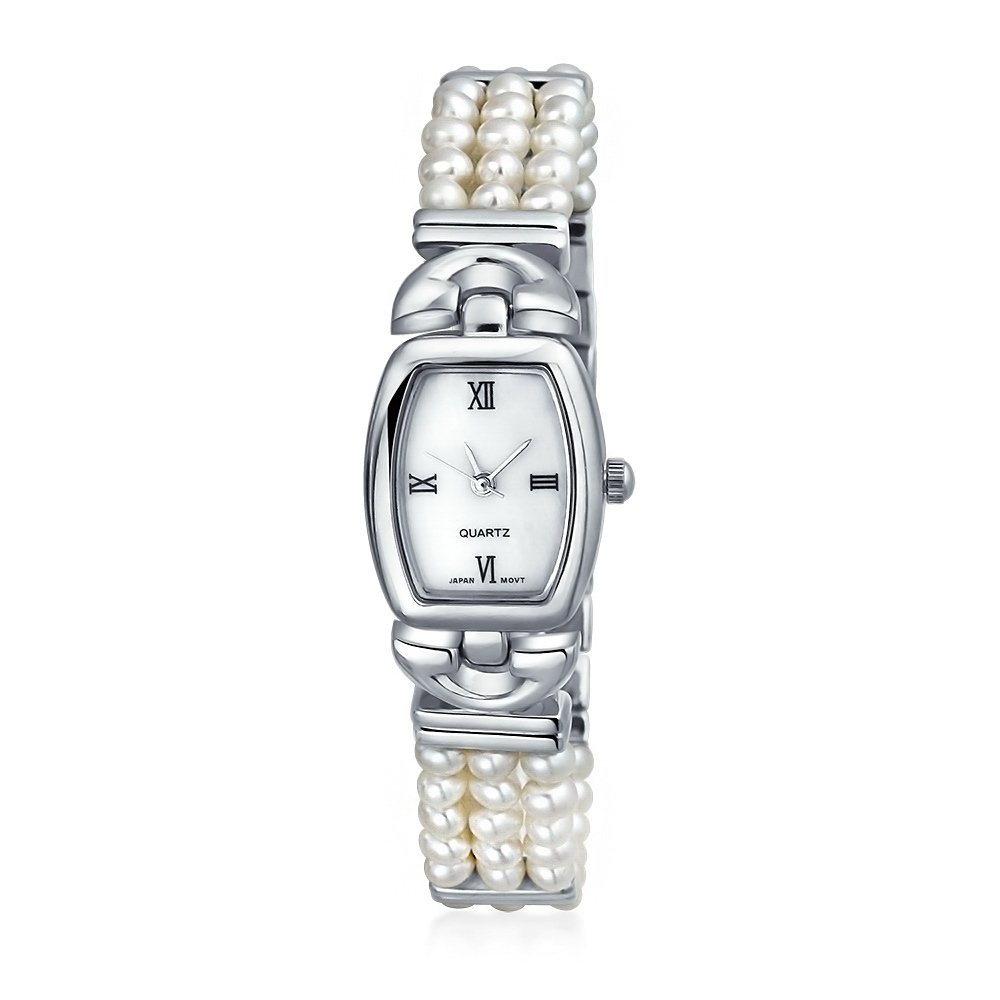 3 Row Freshwater Cultured Pearl Bridal Watch Stainless Steel Back