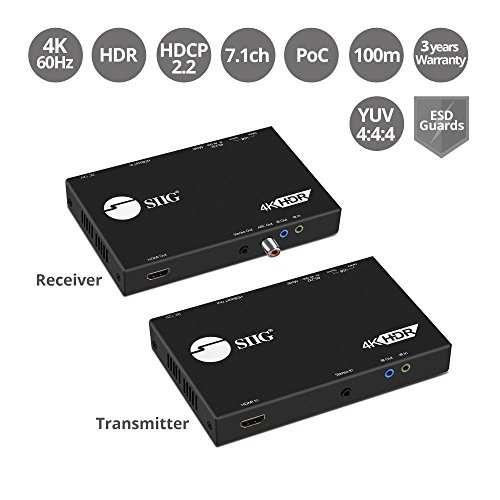 SIIG HDBaseT HDMI Extender 4K 60Hz HDR HDMI 2.0 with USB 2.0 KVM RS 232 & Dual IR Over CAT5e/CAT6/CAT7 330ft (1080p) or 230ft (4K 60HZ) YUV 4:4:4 - HDCP 2.2 Compliant - EDID, PoC (CE-H23411-S1)