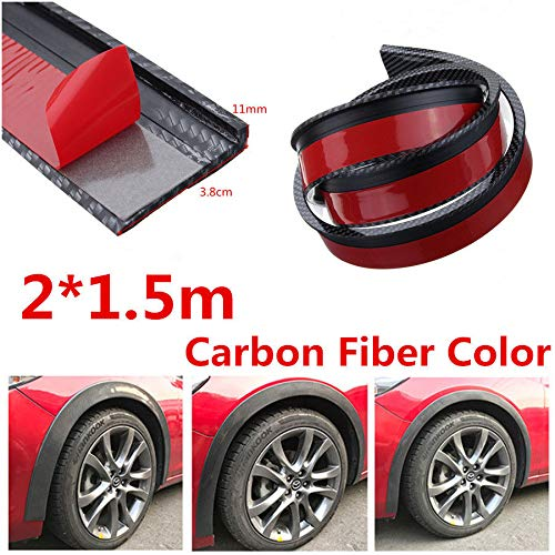 FidgetFidget Wheel 2X 1.5M Carbon Fiber Car Fender Flare Eyebrow Trim Moulding Protector Lip