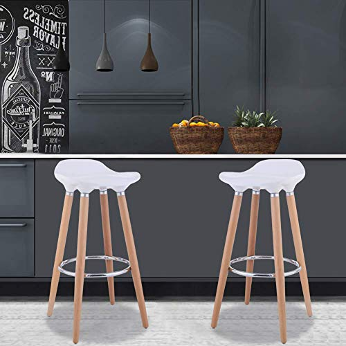 WATERJOY Bar Stool Chairs Set of 2 ABS Kitchen Breakfast Barstools Modern Counter Height Bistro Pub Bar Chairs with Wooden Legs White