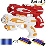 EXSPORT 2 Pack Blaster Guns with Dart Wristers Kit and 36 PCS Soft EVA Bomb for Kids Hand Gun Toy Blaster Gun