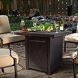 Barton Fire Pit Table Fire Glass Fireplace Outdoor Garden Ignition Control Patio Heater Firepit 46,000BTU