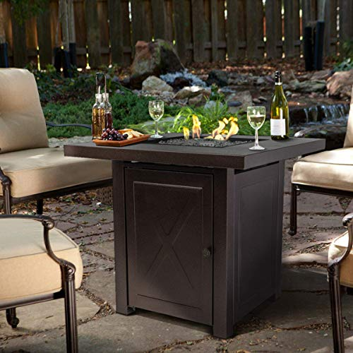 Barton Fire Pit Table Fire Glass Fireplace Outdoor Garden Patio Heater Firepit 46,000BTU