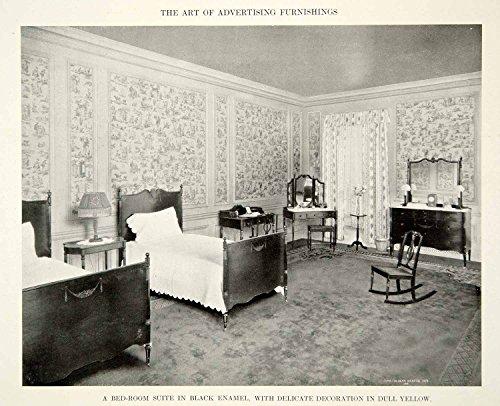 1915 Print Antique Bedroom Furniture Suite Twin Beds Dresser Interior Design GF5 - Original Halftone Print