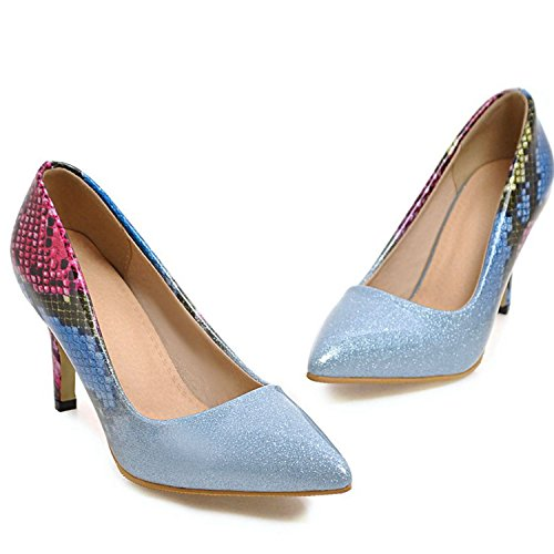 Blue Shoes High Pointed Prom Sexy Wedding Stiletto Pumps Crystal Heel Toe Party Women VIMISAOI xfOTYqz