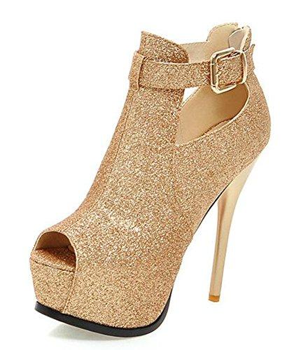 Easemax Womens Elegant Peep Toe High Stiletto Heels Sandals Gold NOYWCBXb9c