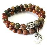 Young & Forever D'vine Set of 2 Yoga & Meditation Om charm buddha Reiki beads bracelet (Picasso Jasper)