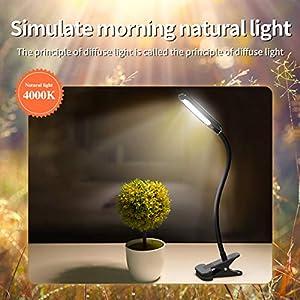 LED Desk Lamps, HOKEKI Bedside Lamp, Table Lamps for Bedroom, clamp Light, Office Lamp, 3 Lighting Modes, Adjustable Brightness, USB Charging, 360° Flexible Gooseneck Book Light (Color: Multicolor)