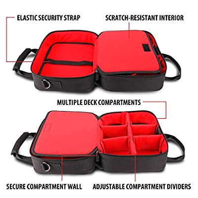 USA Gear Card Deck Storage Bag Compatible with TCG and CCG Card Games - Card Protector Bag with Padded Shoulder Strap, Customizable Interior, Weather Resistant - Fits Boxes and Loose Cards - Red