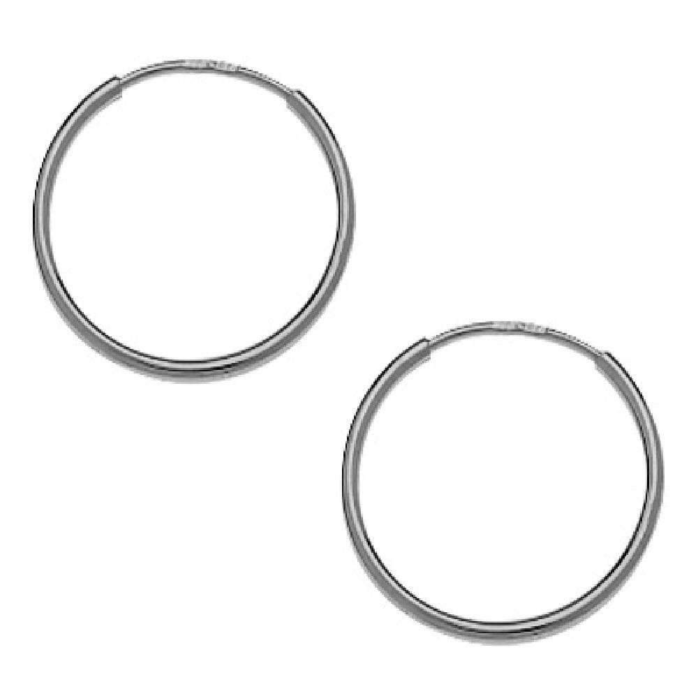 So Chic Jewels 9k White Gold 12 mm Creole Hoop Earrings