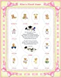 11 X 14 Size Personalized Baby Girl Name Pink Ribbon Yellow Border My School Years Picture Photo Mat with Teddy Bear Illustration and Poem Verse As Birthday Keepsake, Baby Shower or Nursery Newborn Gifts