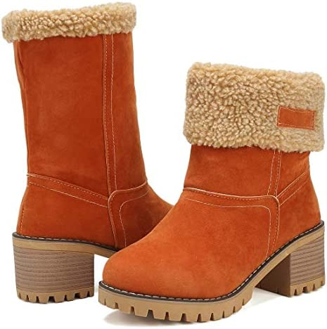 DOTACOKO Women Cute Warm Short Boots Suede Chunky Mid Heel Round Toe Winter Snow Ankle Booties