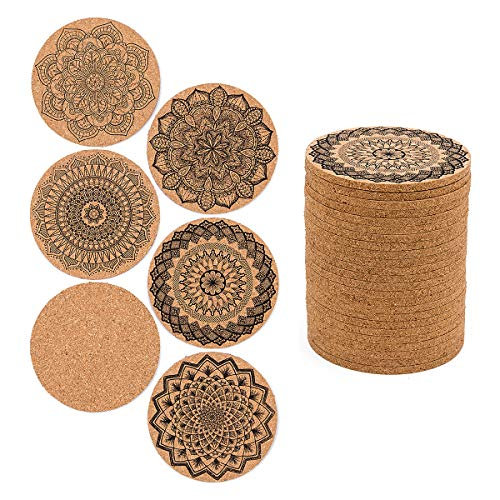 24 PCS Cork Coasters for Drinks Absorbent, 4 inch Reusable Round Cup Mat with 6 Kinds of Mandala Styles for Home Restaurant Office and Bar Drinks by Homtable