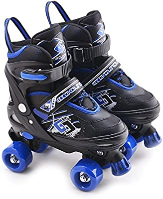 Childrens Adults Kids Boys Girls 4 Wheel Adjustable Quad Roller Skates Boots Blue Black Small Uk 11 1 Amazon Co Uk Sports Outdoors