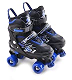MTS Childrens Adults Kids Boys Girls 4 Wheel Adjustable Quad Roller Skates Boots (Blue/Black, Large/UK 5-7/)