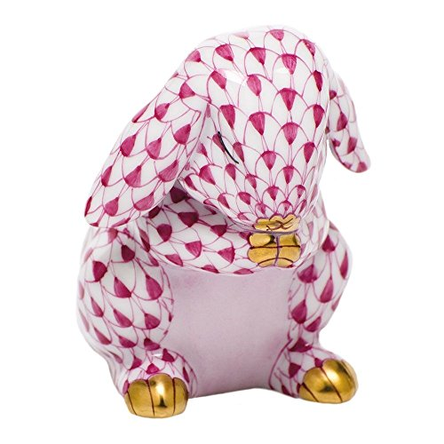 Herend Praying Bunny Rabbit Porcelain Figurine Raspberry Fishnet