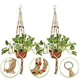 "Indoor & Outdoor Decorative Flower & Plant Round & Square Pot Handmade Hanger – Natural, Organic, Beaded Jute – Home & Garden Décor - 4 Legs 40"" - Keep Your Plants Safe From Children & Pets - 2 Pack"